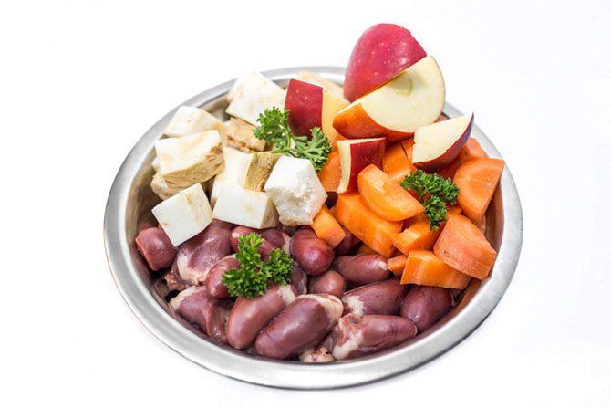 Rohes Fleisch, Obst, Gemüse und Öle sind beim Barfen im Napf